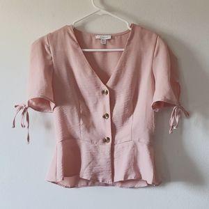 Topshop Peplum Pink Blouse with Tie sleeves